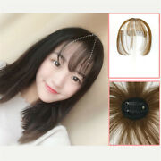 Human Hair Straight Fringe Hairpiece Air Bang Clip In Hair Extensions For Women
