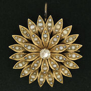 Victorian 14k Yellow Gold Old Mine Cut Diamond And Pearl Large Flower Brooch Pin