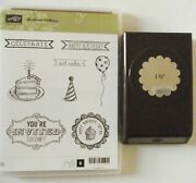 Stampin Up Sketched Birthday Stamps Matching 1 3/4 Punch Scrapbook Cardmaking