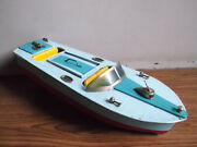 Rare Vintage Battery Powered Tin Toy Motor Boat Made In Japan Working Order.