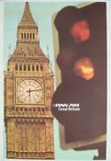 Pan Am Airways Airlines Great Britain Vintage Travel Poster 1978 28x42 Nm Linen