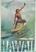Pan Am Airways Airlines Hawaii Surf Vintage Travel Poster 1975 28x42 Nm Linen
