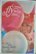 United Airlines Come Fly With Me Vintage Travel Poster 1969 25x40 Nm Linen Back
