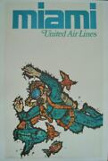 United Airlines Miami Jebary Art Vintage Travel Poster 1967 25x40 Nm Linen