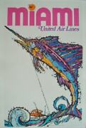 United Airlines Miami Jebary Art Vintage Travel Poster 1969 25x40 Nm Linen