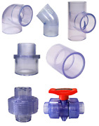 Clear Pvc Fittings Elbowsteescouplingsmale Adapterscapsunionsball Valves