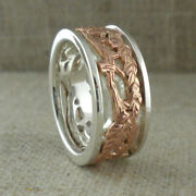 Sterling Silver And 10k Rose Gold Celtic Tree Of Life Ring Keith Jack Size 5