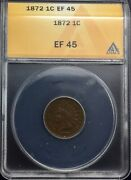 1872 Key Date Indian Head Cent Ef 45 Anacs Sharp Coin Good Eye Appeal