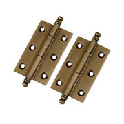 2pcs 3/75mm Antique Pure Brass Furniture Cabinet Drawer Door Double Bead Hinges