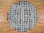 8and039x8and039 Gray Hand Spun Round Undyed Natural Wool Modern Oriental Rug G45677