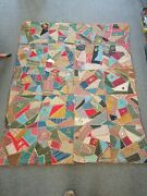 Embroidered Awesome Colors Victorian Crazy Quilt 82 X 67