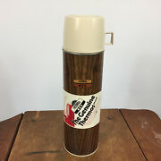 New Nos Vintage 60s 70s Metal Wood Grain Thermos King Seeley Soup Cup Cooler