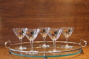 Vintage 30and039s Crystal Rooster Martini Glasses W/tray