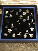 Old Vintage Baseball Pins In New Glass Display Case Brooklyn Dodgers Jeter