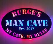 Man Cave Sign My Garage My Rules Man Cave Personalized Lighted Led