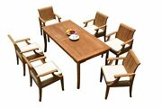A-grade Teak 7pc Dining 71 Rectangle Table 6 Lagos Arm Chairs Set Outdoor Patio