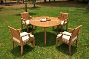 A-grade Teak 5pc Dining 52 Round Table 4 Lagos Arm Chair Set Outdoor Patio