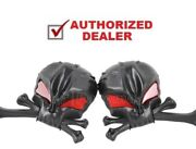 3-d Skull Aluminum Mirrors Black With Red Eyes Harley Bobbers Choppers Customs