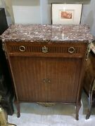 Outstanding Antique French Louisxvi Tambour Front Marble Top Cabinet Server Bar