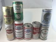Vintage Beer Cans Lot Of 8 Rare Texas Select Budweiser Rolling Rock 1960s 70s