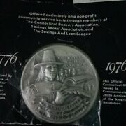 Official State Of Connecticut Bicentennial Commemorative 5 Ounce Silver Medal.