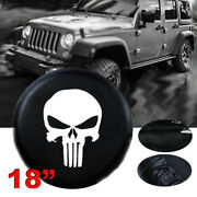 18 Skull Spare Wheel Tire Cover For Jeep Wrangler Size Xxl Wheelcover Black