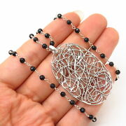 925 Sterling Silver Black Onyx Gem Abstract Design Pendant Chain Necklace 16-18