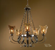 European Style Iron And Amber Glass 5 Light Chandelier
