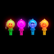 Lumistick Small Pocket Size Light-up 2 Inch Smiley Whistle Keychain Lot