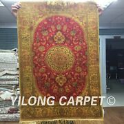 Yilong 2and039x3and039 Handmade Oriental Silk Area Rug Antique Gold Washed Carpet G83c