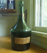 Huge 16tall Benedictine Wine Gallon Size Bottle With Labels Heavy Green Glass