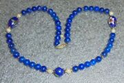 Fine Blue Lapis Round Bead Necklace With Pearls And Cloisonne Beads