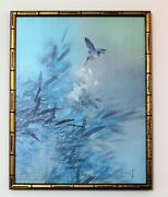Vintage Bird Flower Oil On Canvas Painting By Artist David Lee Bamboo Wood Frame