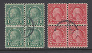 Us Sc 578-579 Used. 1923 1c And 2c Rotary Press Cplt Matching Blocks Of 4 Cert.