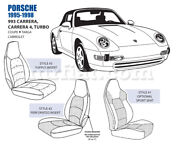 For Porsche 993 Carrera 4 Turbo 5in Bolster Front Leather Seat Cover Set 95-98