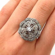 925 Sterling Silver Rhodium Plated Real Diamond Ornate Design Ring Size 7