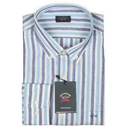 Paul And Shark Yachting Shirt Size 45 17.75 Linen And Cotton Long Sleeve Blue