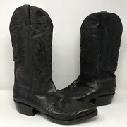 Lucchese Callaway Black Leather Cowboy Boots Sz 10 D Royal Calf Style Gy1515.53