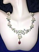 Freshwater Pearl Ruby Garnet Chrome Diopside Necklace 925 Sterling Silver 19 In