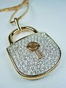 D'orlan Gold Plated Large Lock Pendant With Crystal 24 Length 1763