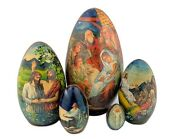 Christmas Decoration Wooden Russian Hand Painted Nativity Scene Hand Painted Egg