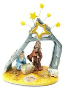 Blue Sky Clayworks 2009 Christmas Nativity Double T-lite Candle Holder Holy Baby