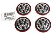 Genuine Vw Golf R32 Gti 5g Rabbit Wheel Center Hub Caps Chrome + Red 57mm 4 Pcs