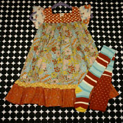 Nwt 2 Piece Lot Girls Wildlflowers Flutter Sleeve Dress And Harvest Tizzy Tights 8
