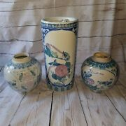 Hand Painted Chinese Porcelain Vase Teal, Pink And Blue With Birds, Ducks, Lotus A