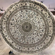 Yilong 6'x6' Round Handwoven Silk Carpet Antistatic Indoor Home Rug 247ab