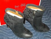 Coach Womenand039s Girls Hanni Soft Goat High Heel Boots Size 7m Black - In Box A4159