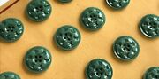 Vintage Buttons - 24 Small Dove Gray 4-hole Carved Dimpled Casein 5/8 Buttons