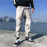 Mens Loose Fit Casual Cargo Pants Works Overall Drawstring Harem Pants Trousers