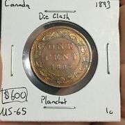 1893 1 Cent Canada Die Clash/planchet Must See No Reserve Coin 194